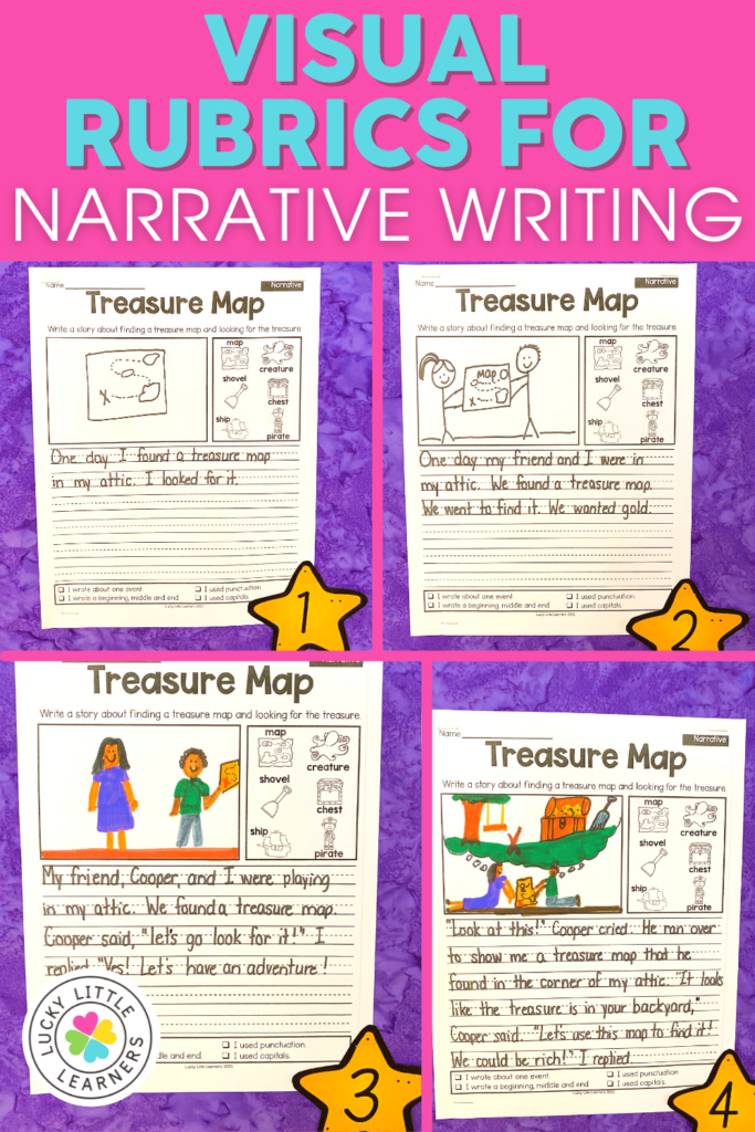 visual rubric with student narrative writing samples from the lucky little learners writing bulletin board pack