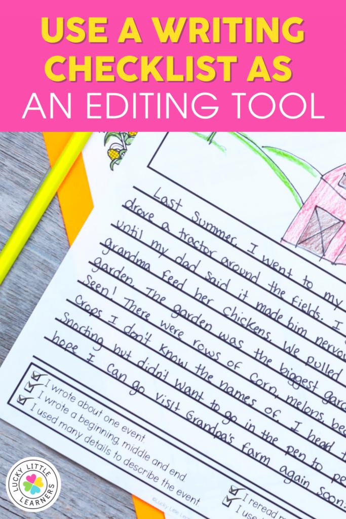 2nd grade writing checklist