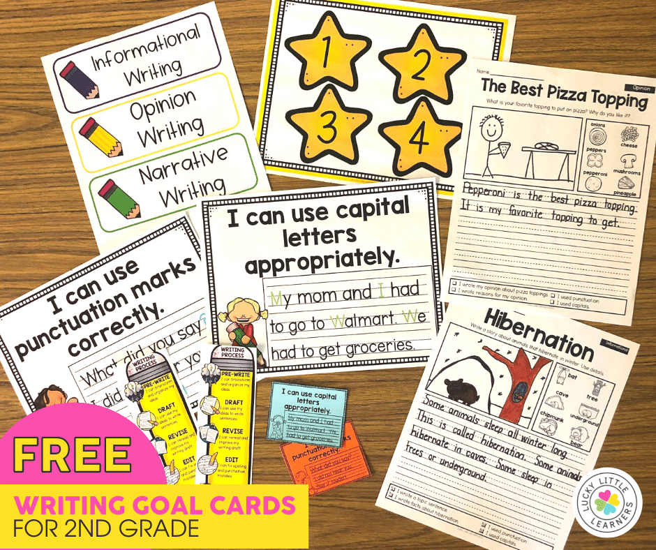 free writing goal cards and prompts for 1st and 2nd grade students