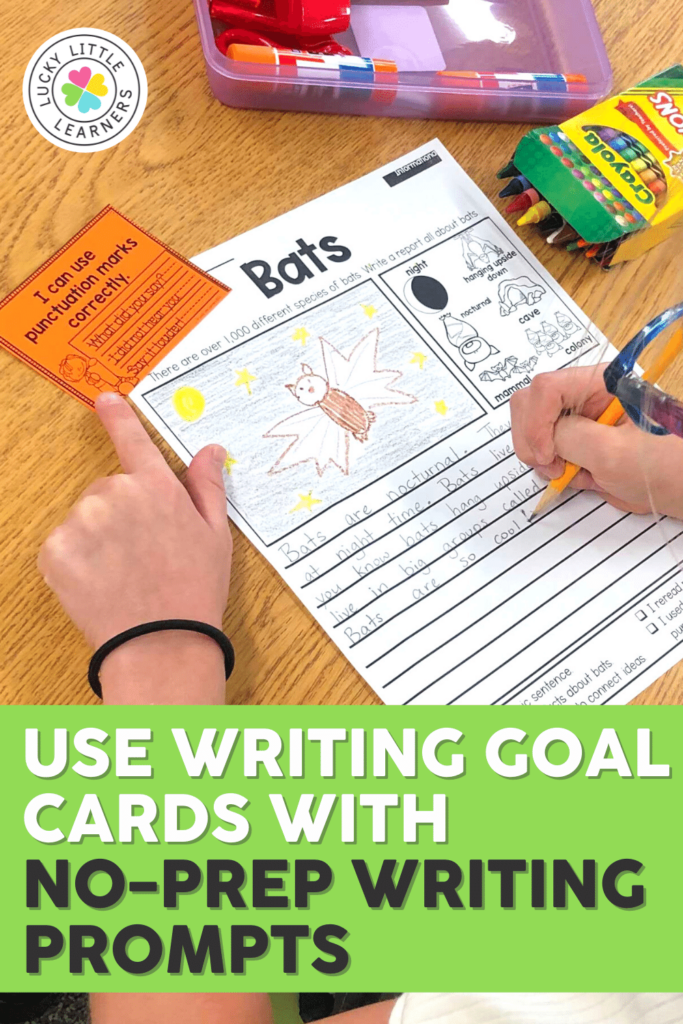 writing goal cards used with no prep writing prompts