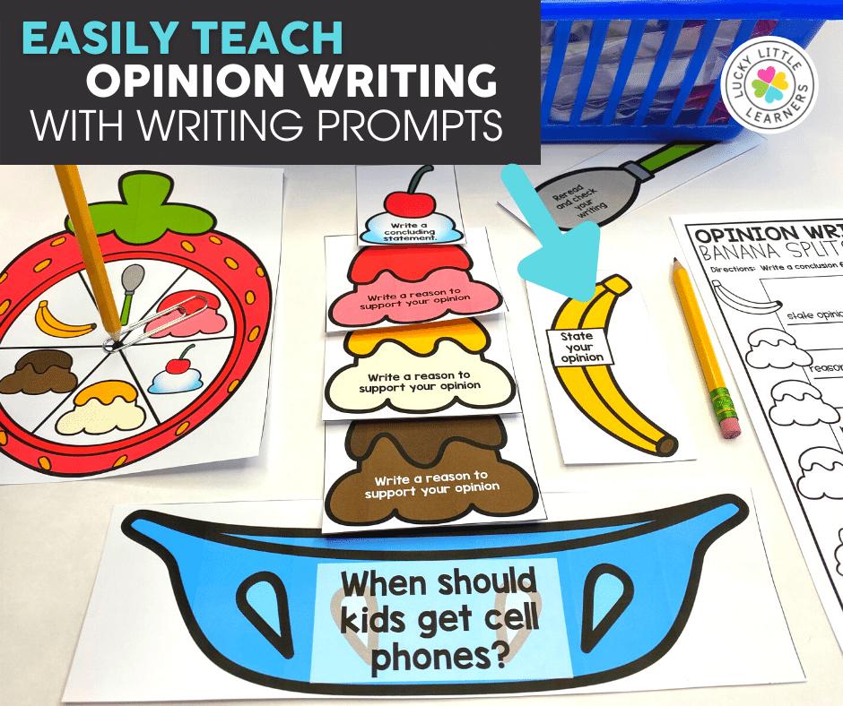 banana split opinion writing center activity for 2nd grade