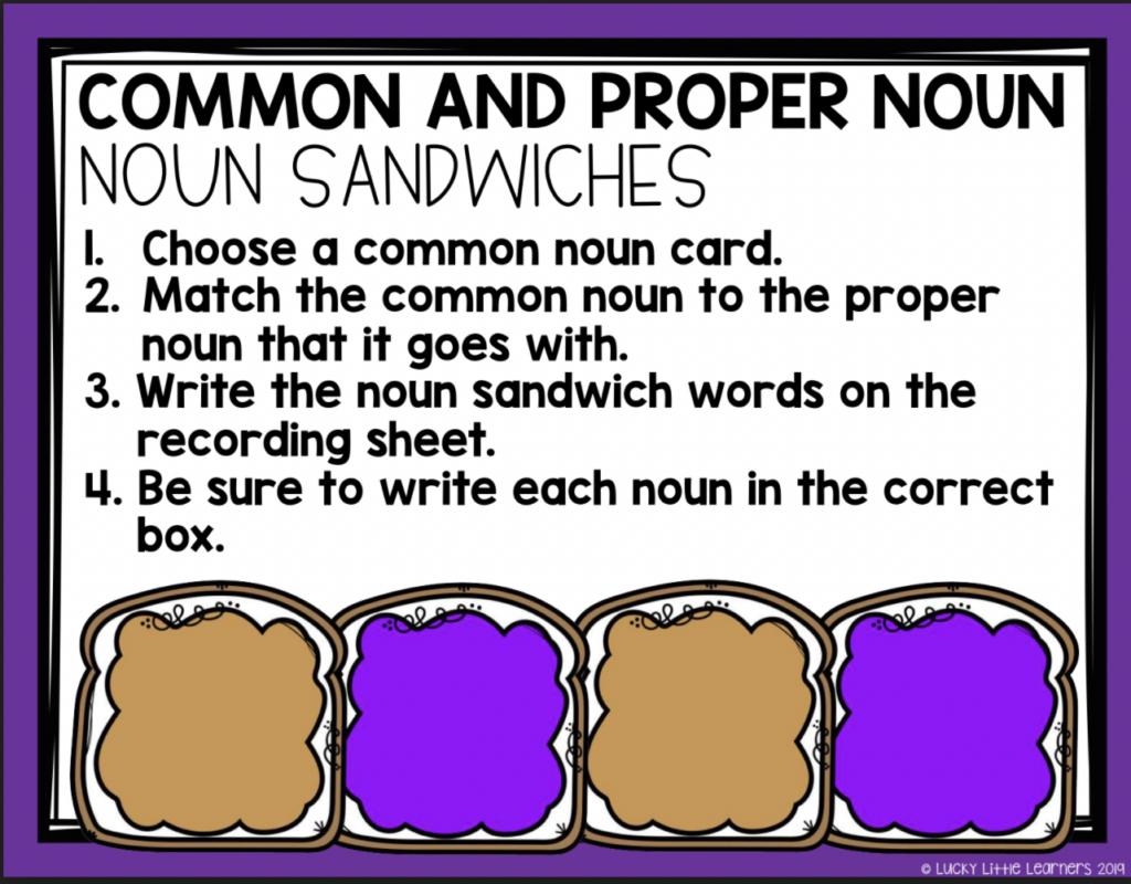common and proper noun sandwiches grammar center activity for 2nd grade
