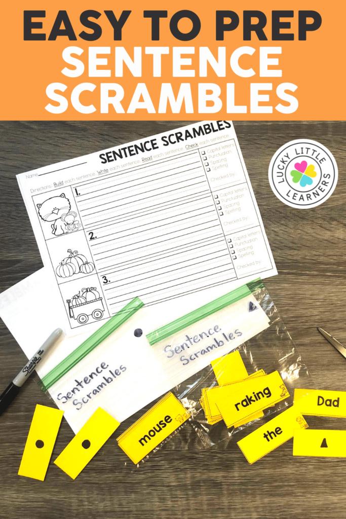 sentence scramble cards organized in baggies