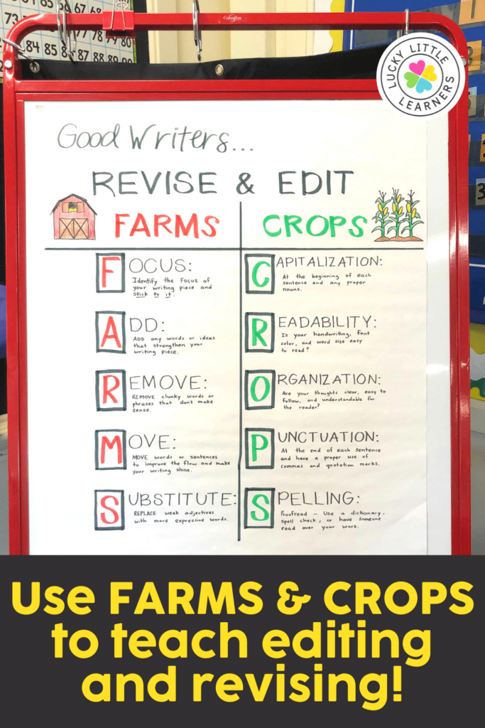 FARMS and CROPS acronym to help students remember to edit and revise their writing