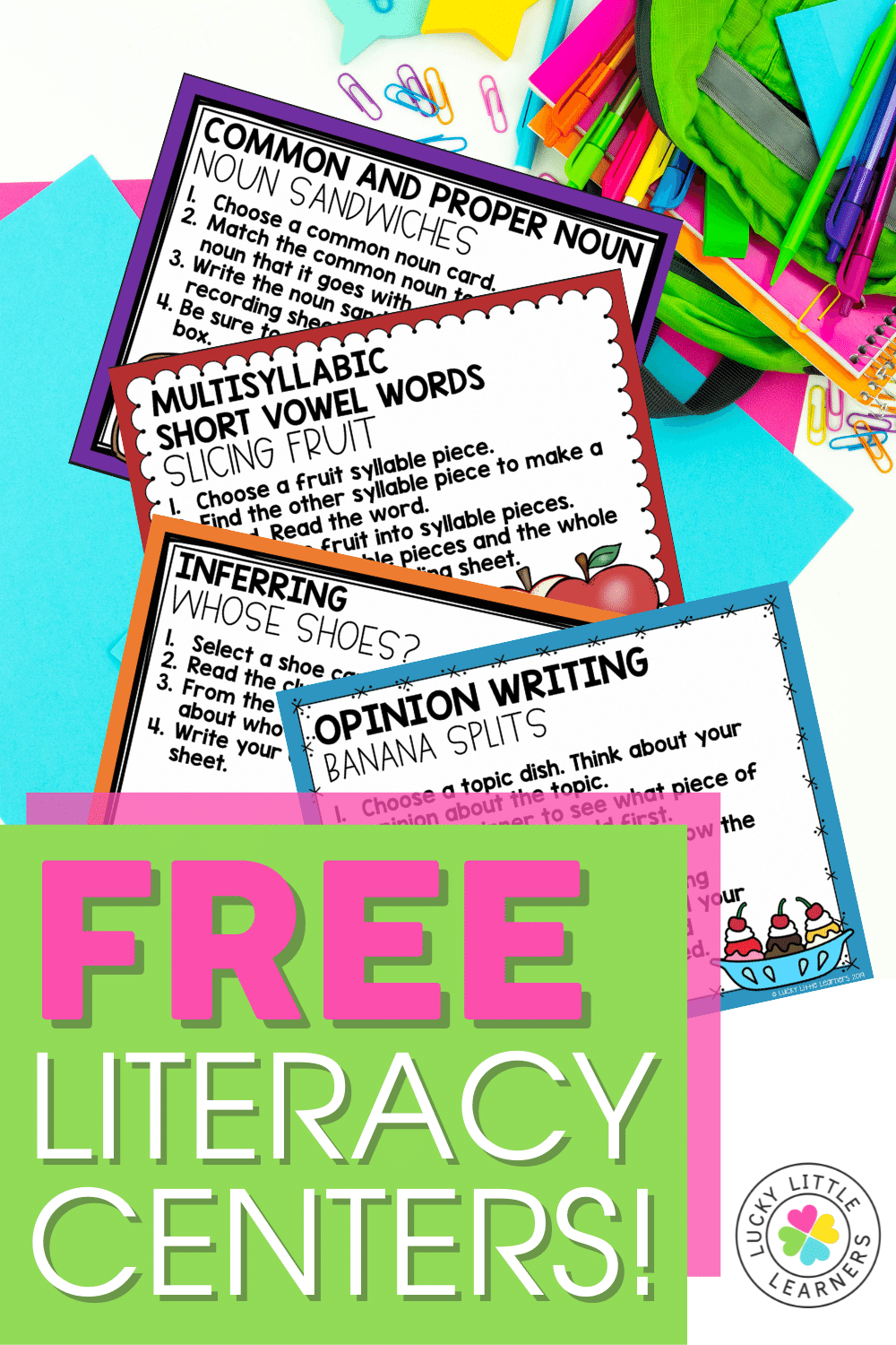 free 2nd grade phonics, reading, grammar, and writing literacy centers