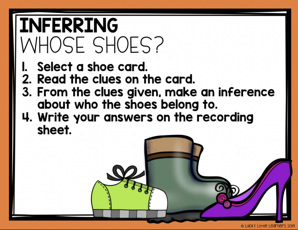 inferring whose shoes 2nd grade reading center activity