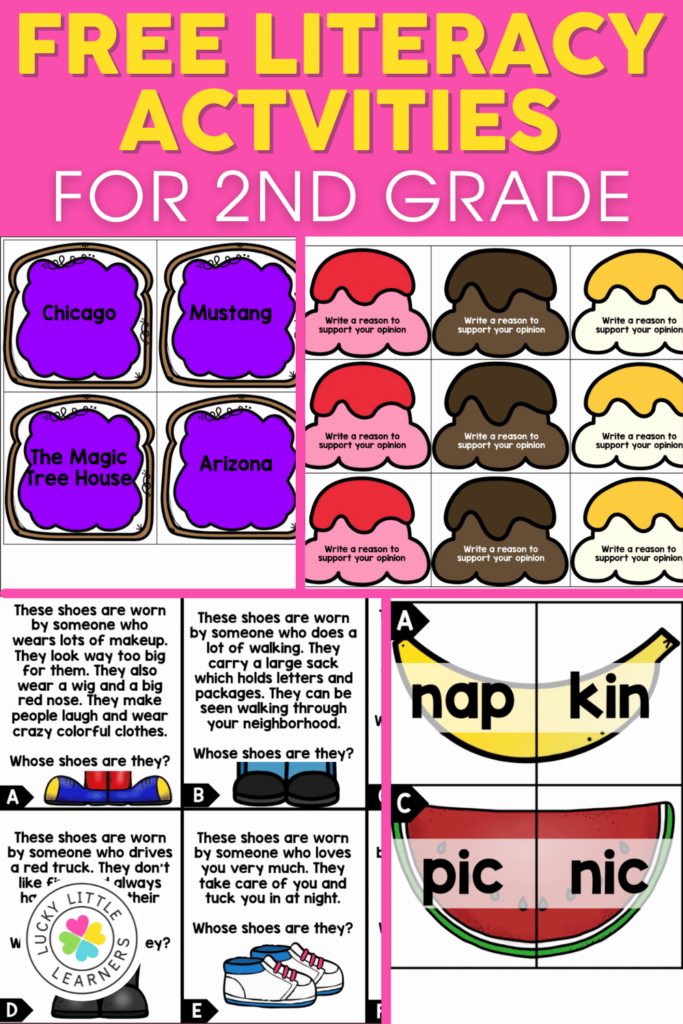 four free literacy center activities for 2nd grade