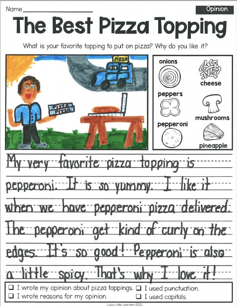 Visual Rubric for Opinion Writing in 1st and 2nd Grade