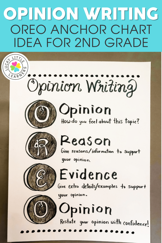 oreo anchor chart idea for teaching opinion writing in 2nd and 3rd grades