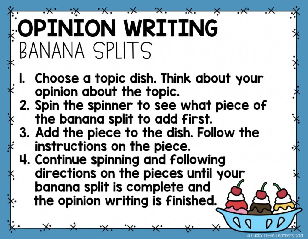opinion writing banana splits writing center activity for 2nd grade
