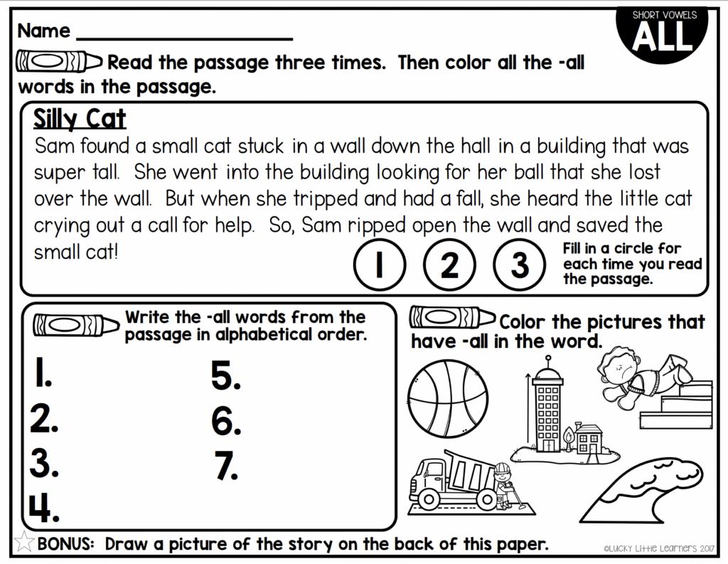 short vowel -all pattern phonics reading passage
