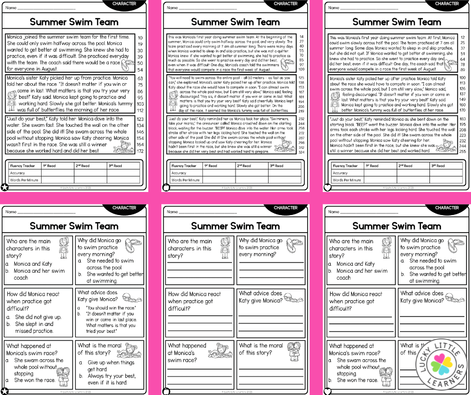 3 levels of differentiated reading passages and comprehension questions