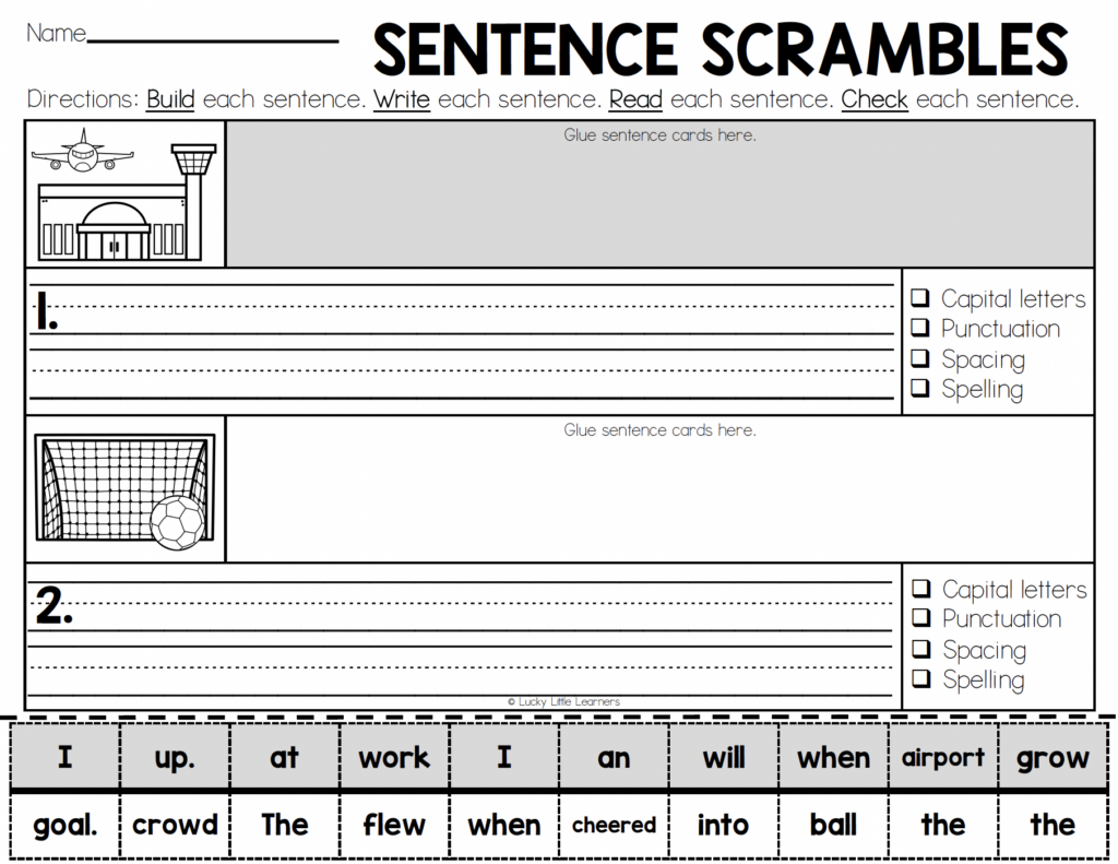 no prep cut and paste sentence writing practice sheets