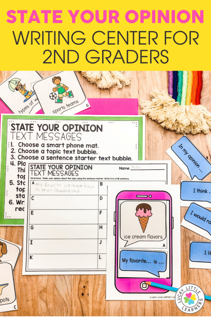 state your opinion text messages writing center for 2nd graders