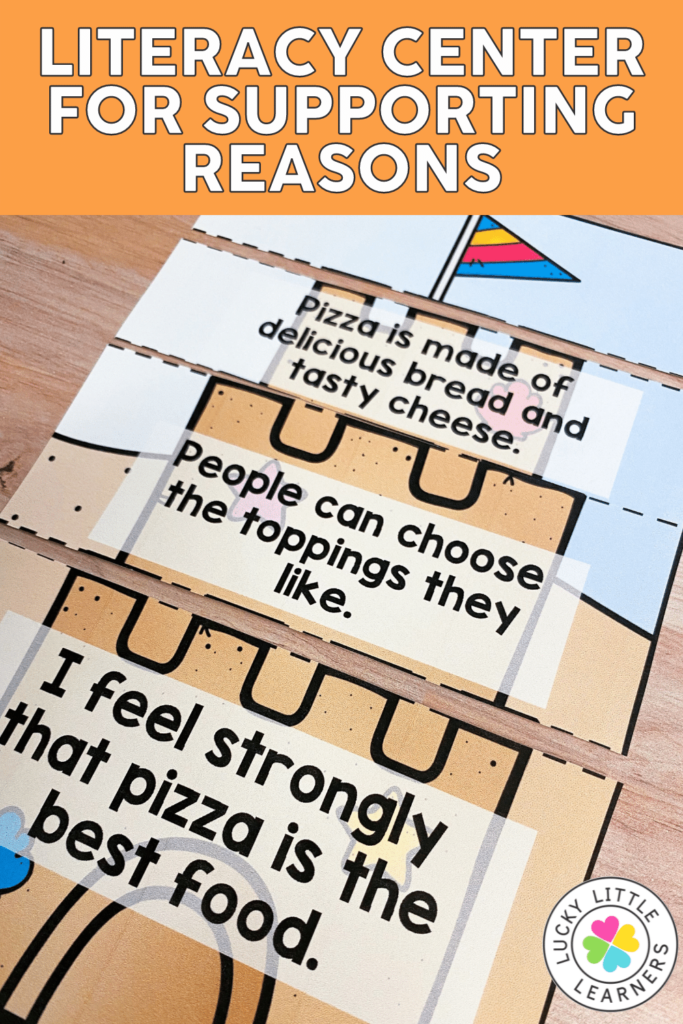 supporting reasons sand castle literacy center from the lucky little learners literacy center bundle
