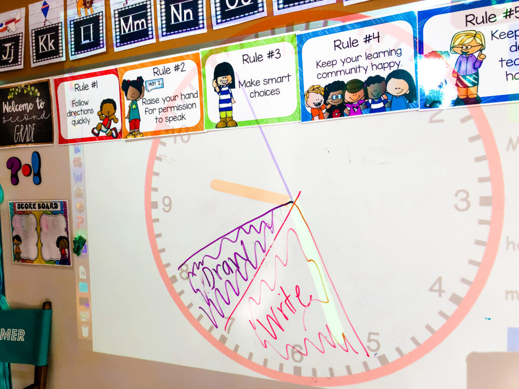 a classroom working clock displayed so students can see how much time to spend on different tasks