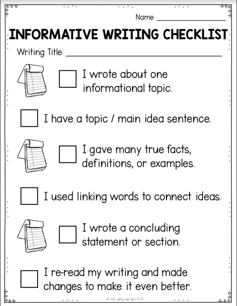 free informative writing checklist for 1st and 2nd grade