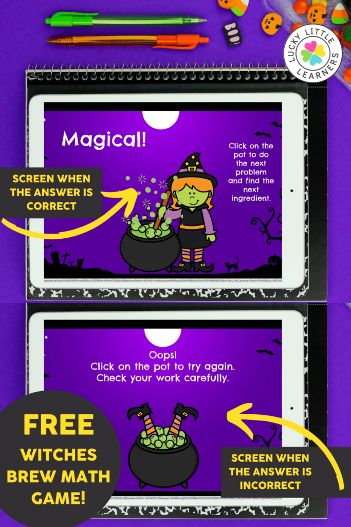 the witches brew math game is self checking and prompts kids to try again when the answer is incorrect