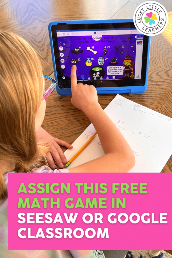 free digital halloween math game that can be played on digital devices by assigning to seesaw or google classroom