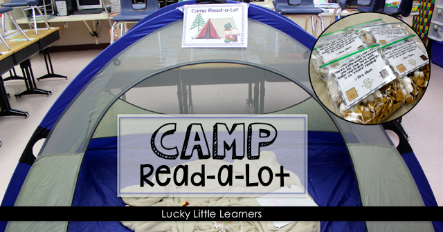 What do tents, fake pine trees, and flashlights in the classroom mean? The absolute funnest day all year! A full day of camping and reading together right in the classroom!