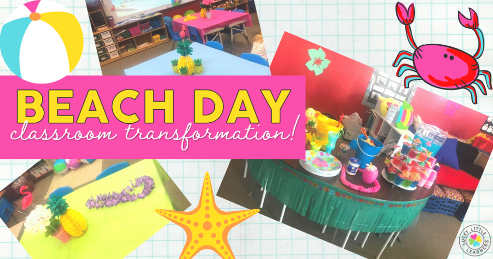 Classroom transformations are fun and leave your students with lasting memories of a fun-filled day! What better way to bring in summer than a beach day classroom transformation?! Check out the ideas below to bring the beach to your classroom!