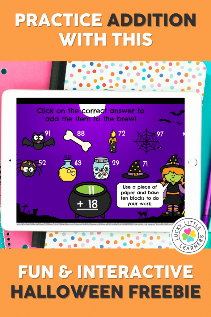 practice addition with this fun and interactive halloween math game