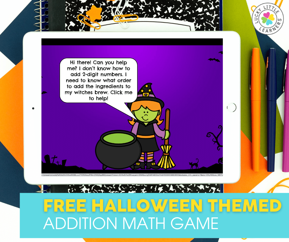 help the witch add 2 digit numbers so she knows the order to add ingredients to her brew with this free halloween themed addition math game
